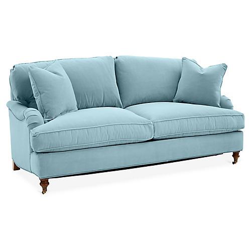 Brooke Sleeper Sofa, Light Blue Crypton