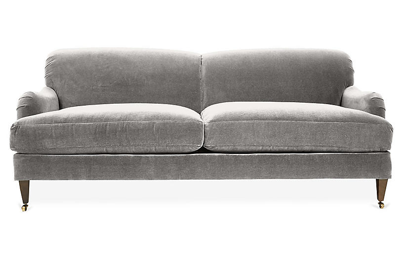 Hayes Sofa, Light Gray Crypton Velvet