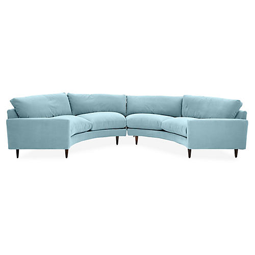 Olso Curved Sectional, Light Blue Crypton