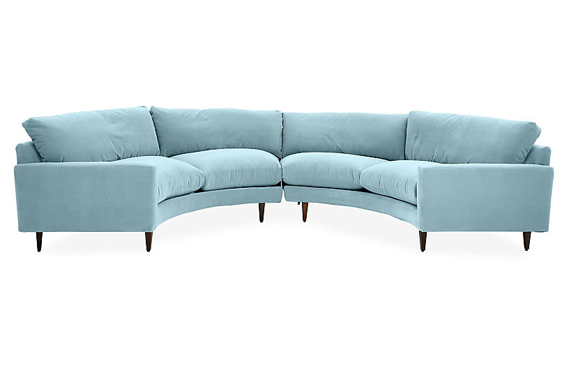 Onslow Curved Sectional, Light Blue Crypton
