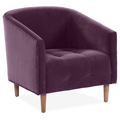 Astrid Barrel Chair, Fig Velvet