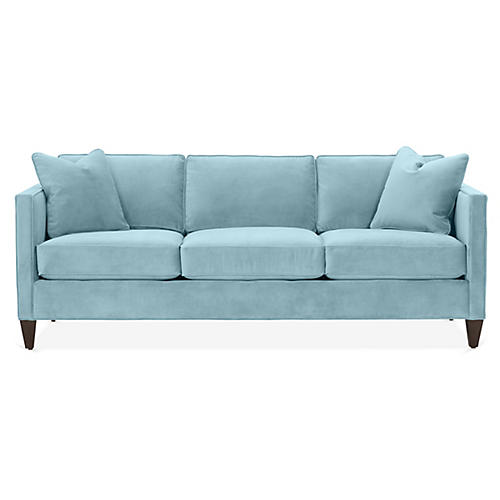 Cecilia Sleeper Sofa, Light Blue Crypton
