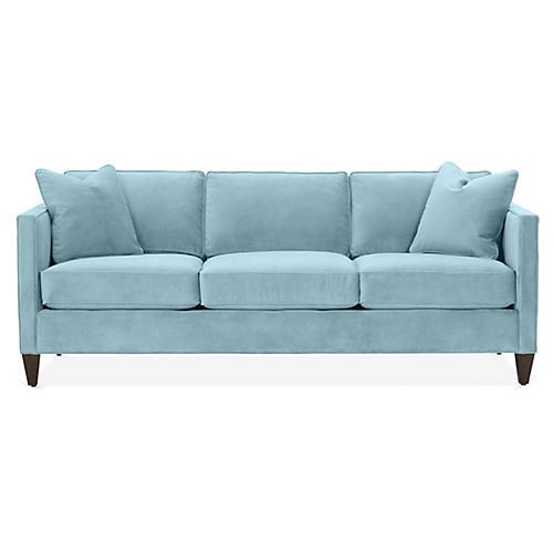 Cecilia Sleeper Sofa, Light Blue Crypton