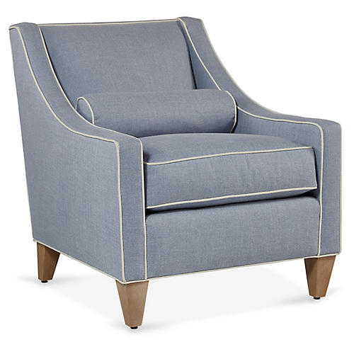 Christophe Accent Chair, Periwinkle/Chalk Crypton