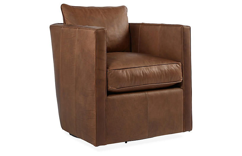 Rackham Swivel Chair, Saddle Brown Leather