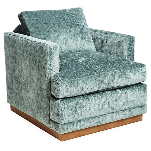 Shaw Swivel Club Chair, Adriatic Green