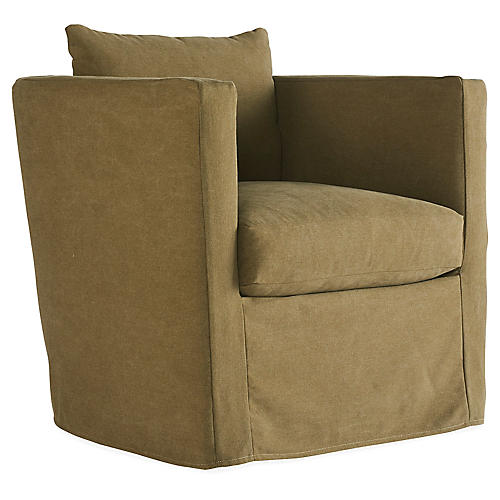 Rackham Slipcover Swivel Chair, Tanned Olive