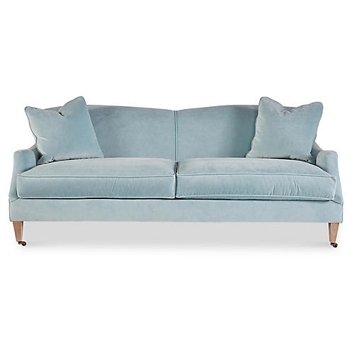 Magnolia Sofa, Ice Blue Velvet