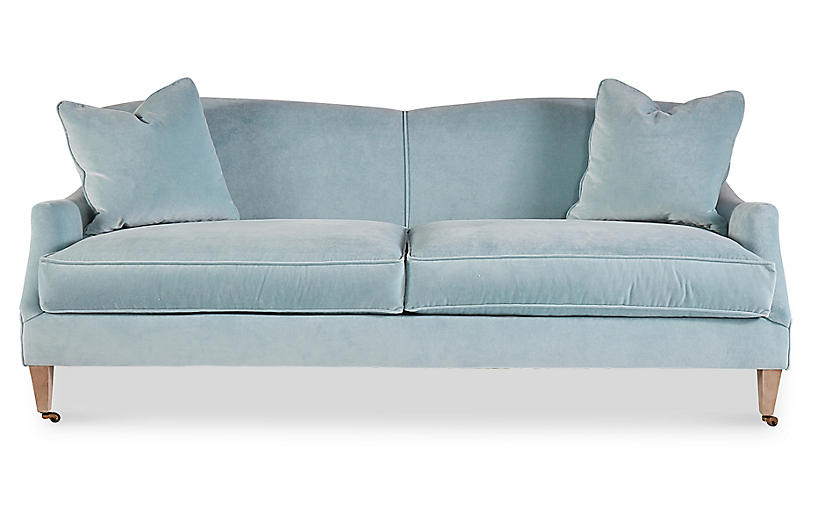 Magnolia Sofa, Ice Blue Velvet