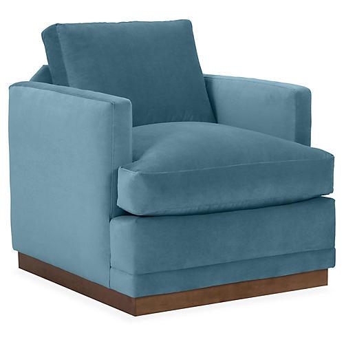 Shaw Swivel Club Chair, Colonial Blue Velvet