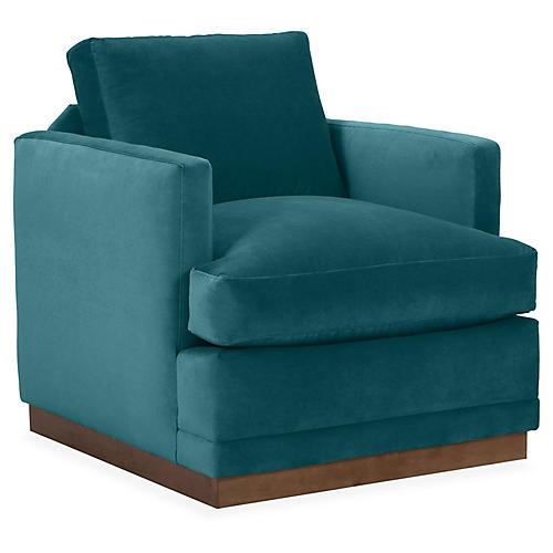 Shaw Swivel Club Chair, Peacock Velvet