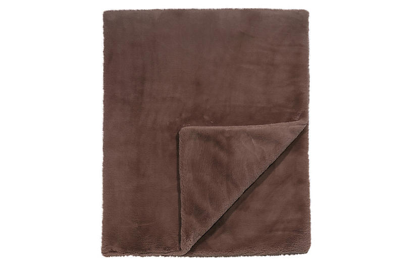 Faux Fur Blend Throw, Brown