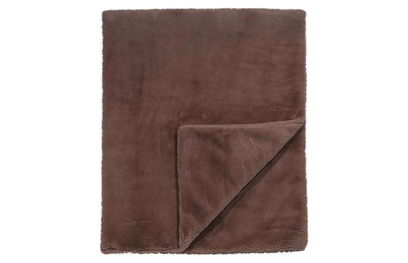 Faux Fur Blend Throw, Brown