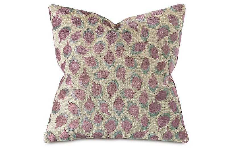 Dahlia 22x22 Spot Pillow, Purple/Tan