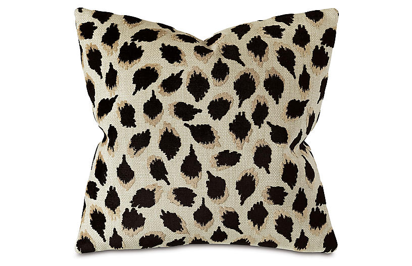 Dahlia 22x22 Spot Pillow, Black/Tan