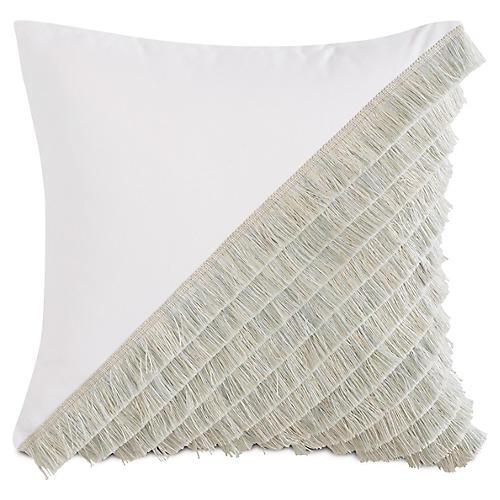 Mila 20x20 Outdoor Pillow, White/Mint