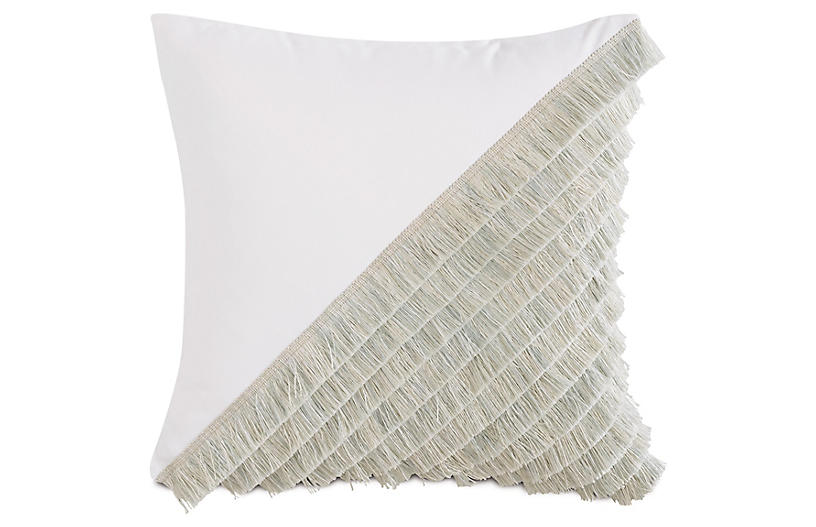 Charlotte 20x20 Outdoor Pillow, White/Mint