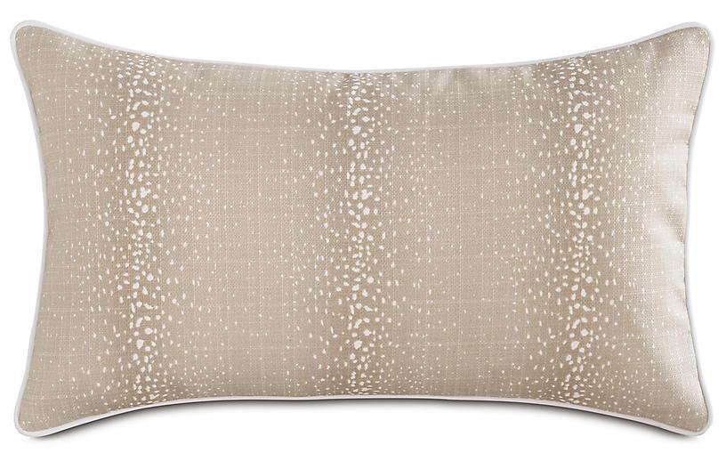Evie Fawn 13x22 Outdoor Lumbar Pillow, Brown/White