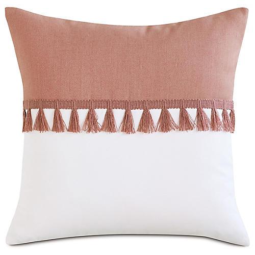 Mila 20x20 Outdoor Pillow, Melon/White