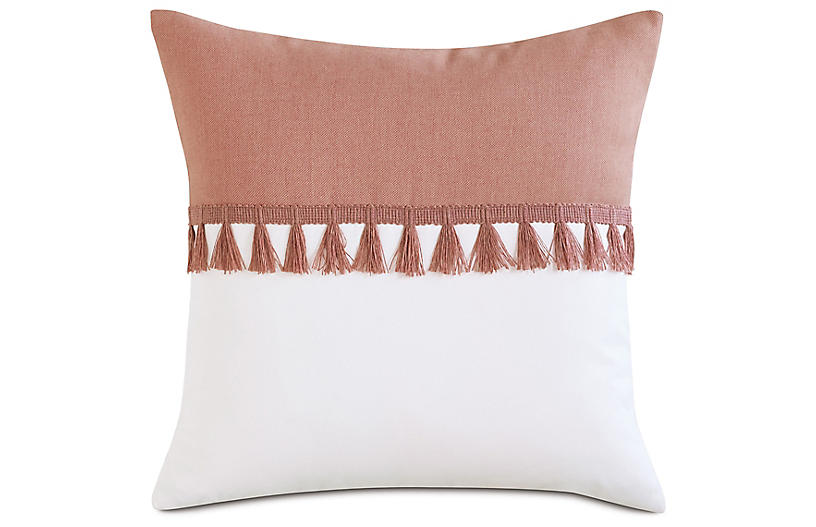 Mila Outdoor Pillow, Melon/White