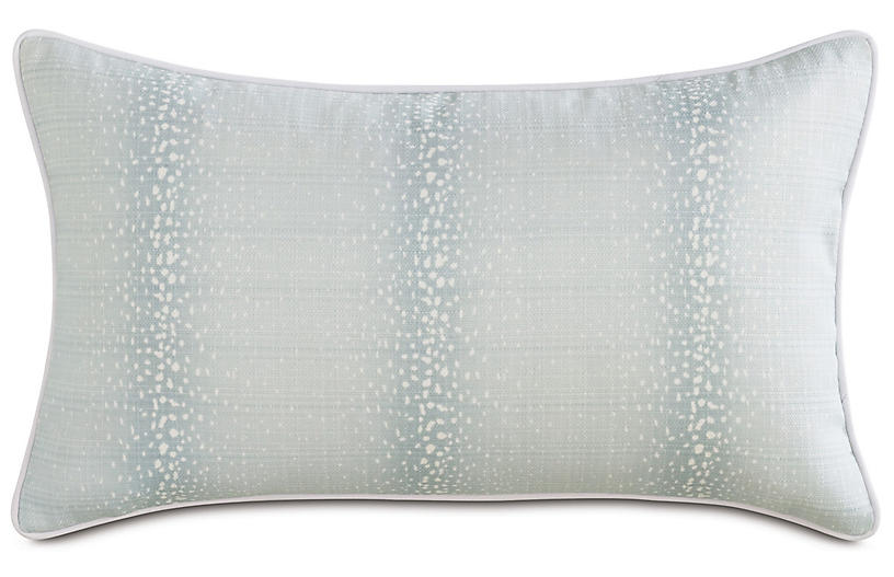 Evie Mist 13x22 Outdoor Lumbar Pillow, Light Blue/White