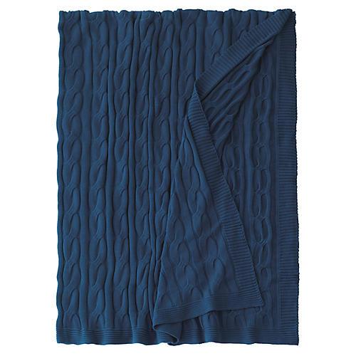 Avalon Cable-Knit Cotton Throw, Indigo