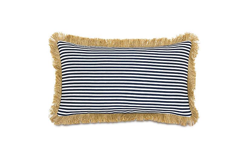 Ahoy Lumbar Outdoor Pillow, Navy/Tan
