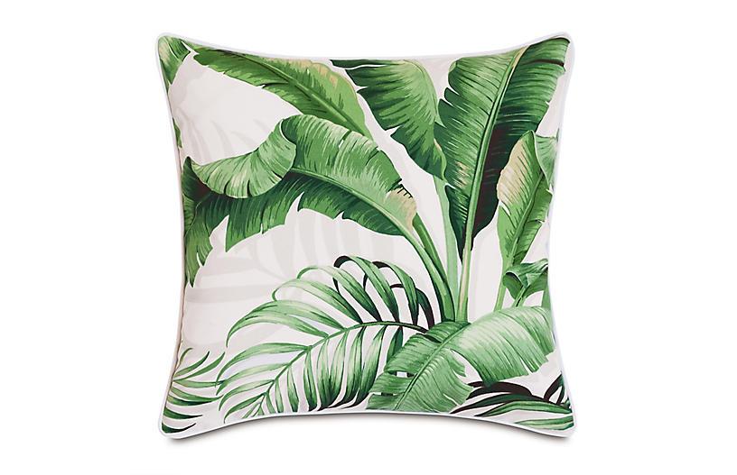Kala 20x20 Outdoor Pillow, White Palm