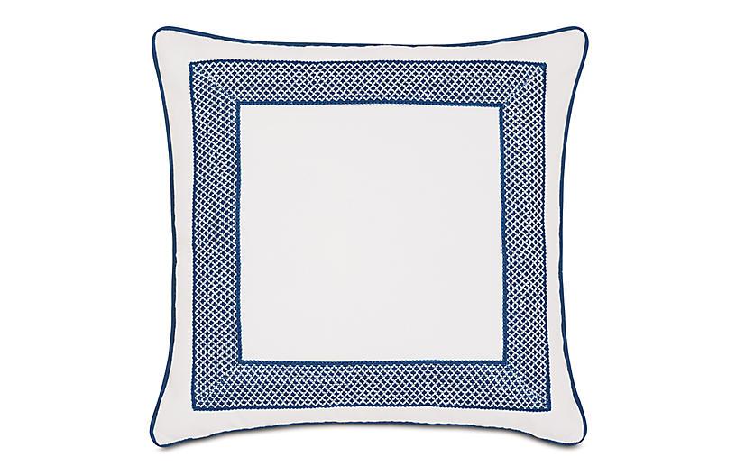 Willa Outdoor Pillow, White/Navy