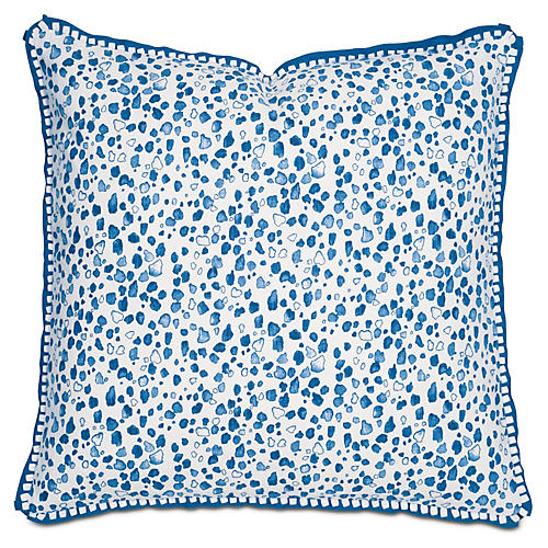 Mia 22x22 Pillow, Blue/White