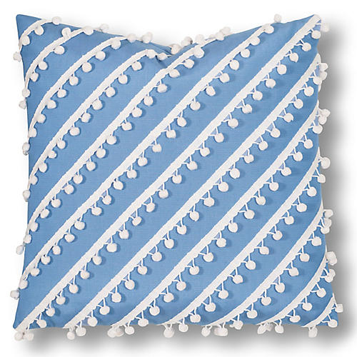 Maddie 20x20 Outdoor Pillow, Blue/White