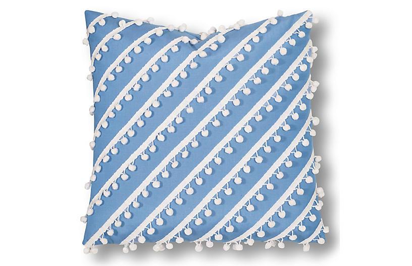 Maddie 20x20 Outdoor Pillow, Blue/White