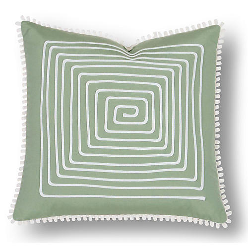 Jen 18x18 Outdoor Pillow, Green/White