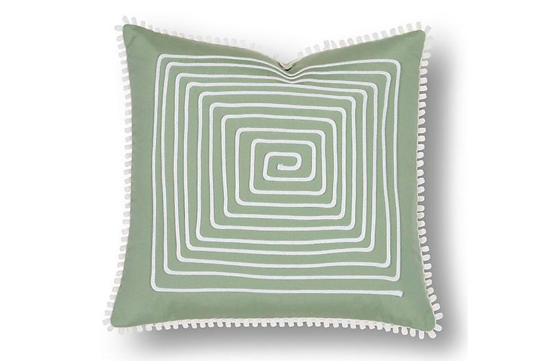 Jen 18x18 Outdoor Pillow, Green/White