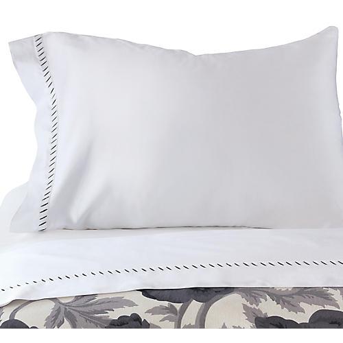 Ona Pillowcase, White/Charcoal