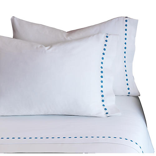 Tivoli Pillowcase, White/Blue