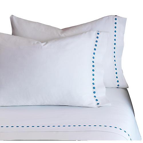 Tivoli Pillowcase, White/Blue
