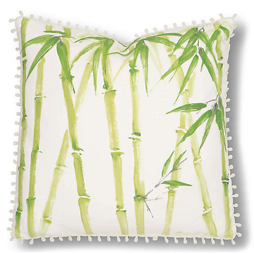 Eleanor 20x20 Pillow, Ivory/Green