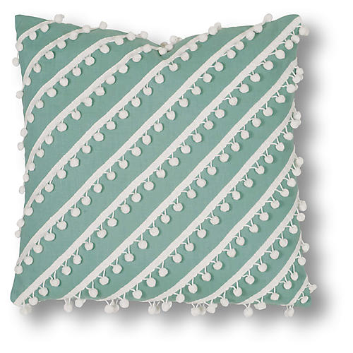 Mills 20x20 Pillow, Aqua/White Linen
