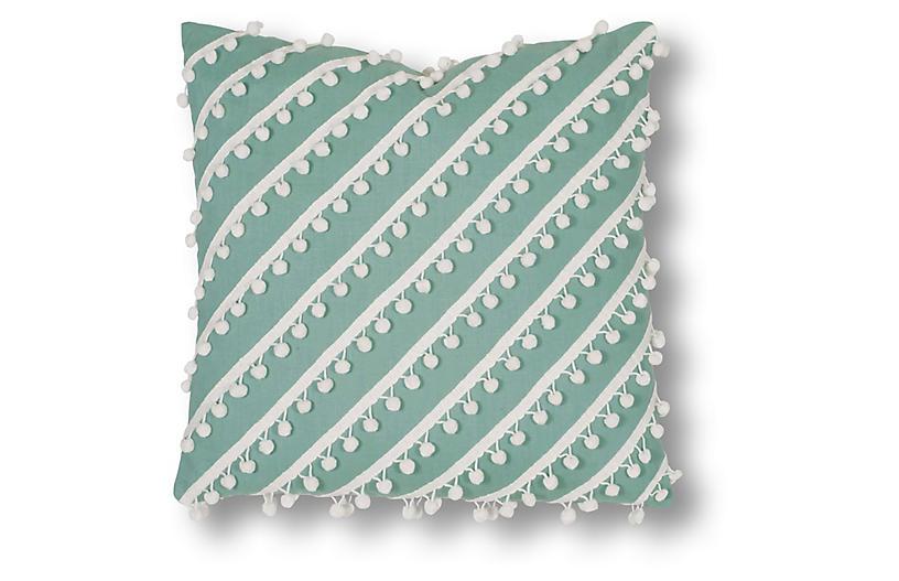 Mills 20x20 Pillow, Aqua/White Linen