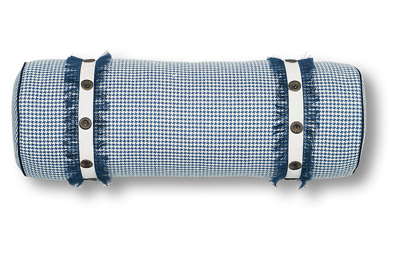Cecelia 9x24 Bolster Pillow, Blue/White