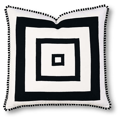 Georgina 20x20 Outdoor Pillow, Black/White