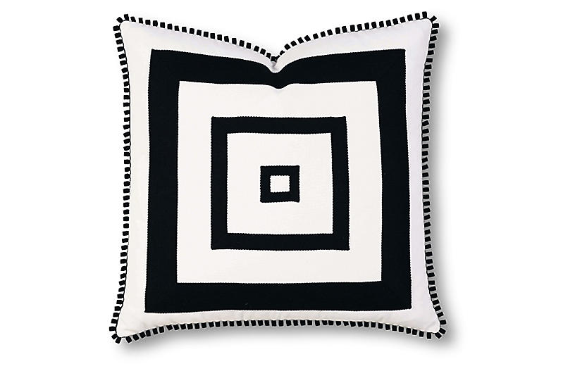 Georgina 20x20 Outdoor Pillow, Black/White