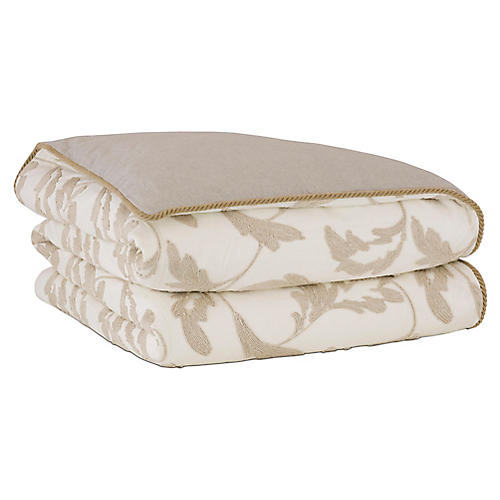 Bramble Duvet Cover, White/Tan