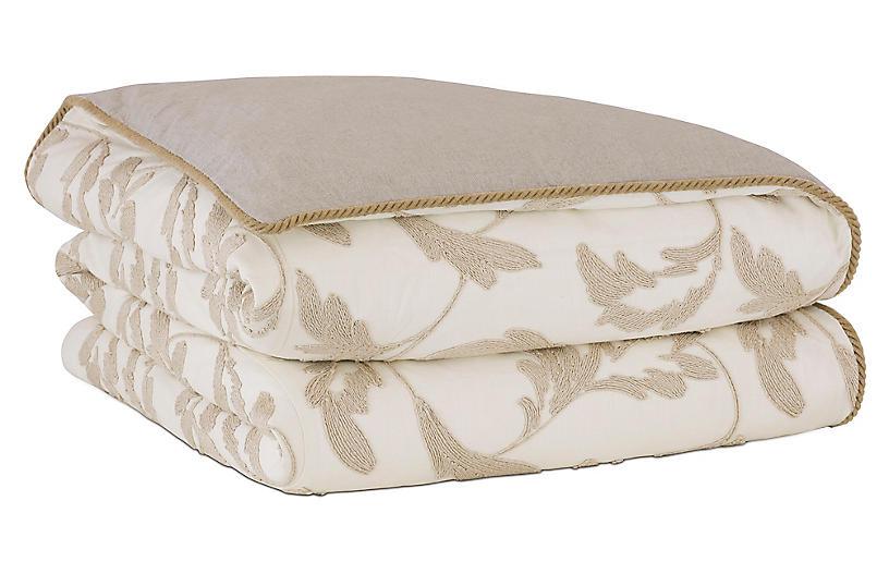 Bramble Duvet Cover, White/Tan