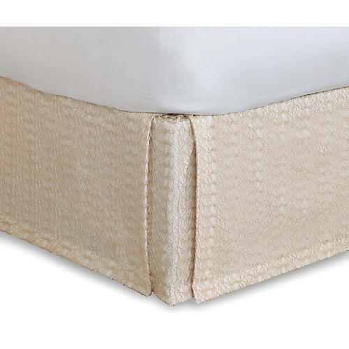 Bramble Bed Skirt, White/Tan
