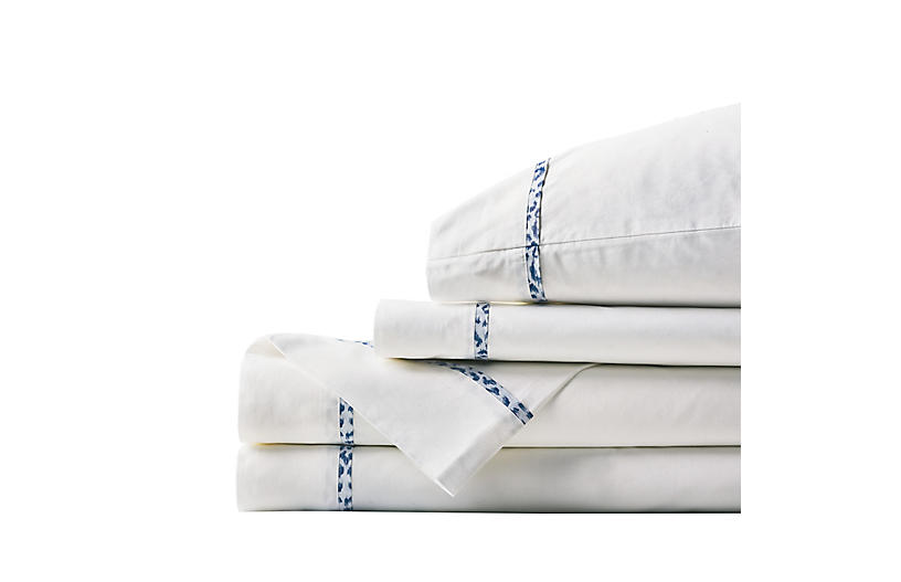 Tanner Indigo Sheet Set, White/Blue