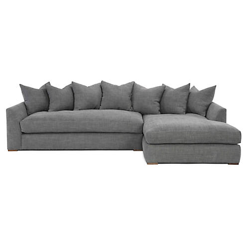 Elara Sectional, Light Gray Linen