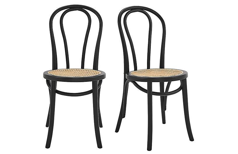 S/2 Nico Side Chairs, Matte Black