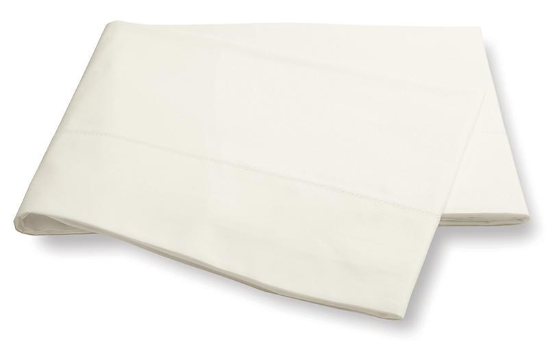 Luca Hemstitch Flat Sheet, Ivory